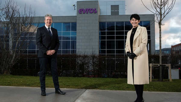Brian Larkin, managing director of Evros Technology Group with Eir CEO Carolan Lennon