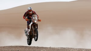 CS Santosh pictured in action during the 2015 Dakar Rally