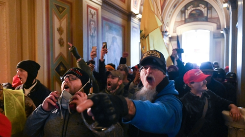 Supporters of US President Donald Trump inside the US Capitol yesterday. Photo: Roberto Schmidt/AFP/Getty Images