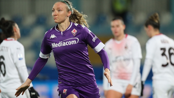 Louise Quinn celebrates the winning goal as Fiorentina progressed to the final