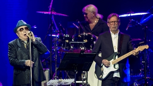 Eric Clapton and Van Morrison perform together in Music for Marsden, a hospital benefit concert which took place in London last year