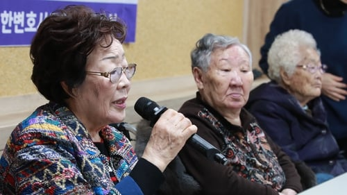 Former 'comfort women' Lee Yong-soo, Kil Won-ok and Lee Ok-seun pictured in 2019 (File image)
