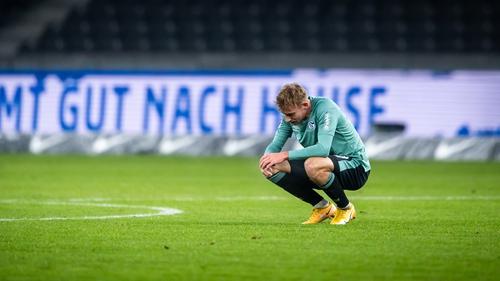 Timo Becker of FC Schalke 04 after the loss to Hertha Berlin
