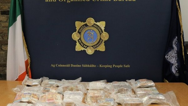 A photo of some of the cash seized by gardaí this morning