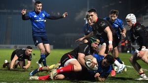 Robbie Henshaw gets over for Leinster's third try