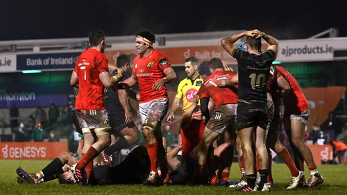 Munster were down to 13 men at the death but held on to win