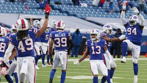 The Buffalo Bills celebrate their victory in Orchard Park