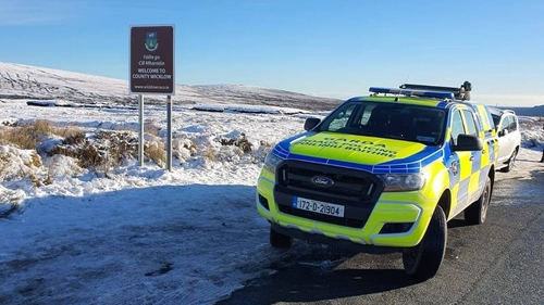 A garda checkpoint in the Wicklow mountains