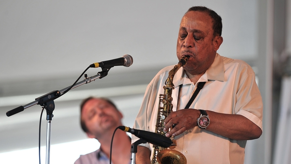 Lou Donaldson performs with Pat Bianchi on the organ at the Newport Jazz Festival in Newport, Rhode Island, on August 2, 2015