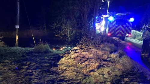 Icy conditions led to the driver skidding off the road