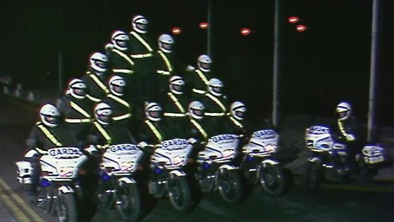 Members of the Garda Motorcycle Unit outside RTÉ Television Building, Montrose (1991)
