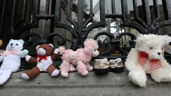 Toys on the gates of Leinster House in 2014 during a protest to call for a commission into mother and baby homes (file image: Rollingnews.ie)