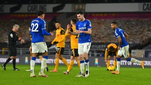 Ben Godfrey and Michael Keane celebrate what proved to be the match-winning goal away to Wolves