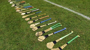 Hurls on the sideline before the Fitzgibbon Cup Final match between UCC and IT Carlow in February 2020