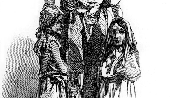 The children of Bridget O'Donnel, as depicted in the Illustrated London News in 1849. Source: Photo12/Universal Images Group via Getty Images