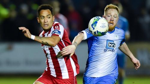 Will Seymore (L) in action for Sligo Rovers last season against Ryan Connolly of Finn Harps