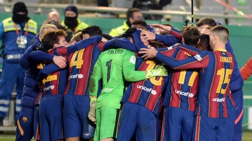 Barcelona players celebrate their victory