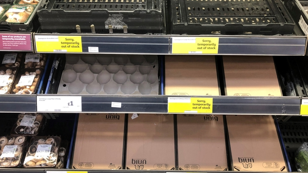 Empty food shelves at the Sainsbury's store in Bangor, Co Down