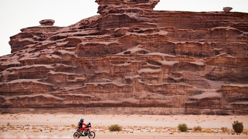 Kevin Benavides won this year's motorcycle category at the Dakar Rally, an off-road endurance event