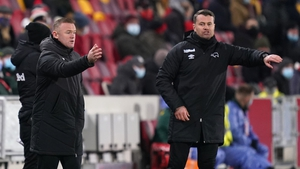Derby manager Wayne Rooney and goalkeeper coach Shay Given