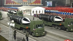 A photo released by the official North Korean Central News Agency shows a new type of submarine-launched ballistic missiles during a military display in Pyongyang