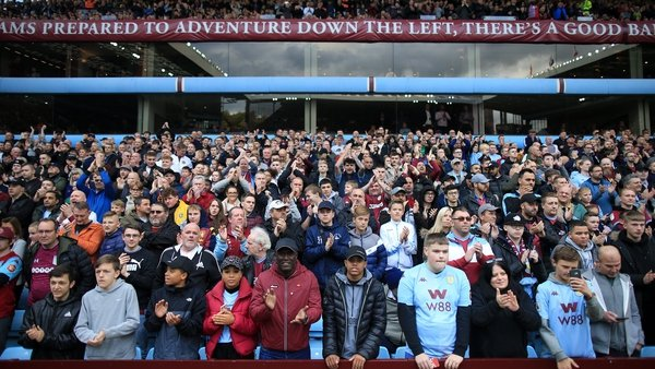 Aston Villa fans watching their side against Brighton at Villa Park in October 2019.