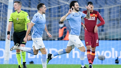 Luis Alberto celebrates making it 2-0 to Lazio against Roma