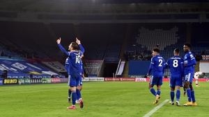 James Maddison celebrates the opening goal against Southampton