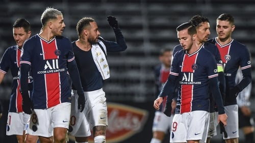 PSG players react at full-time following victory over Angers
