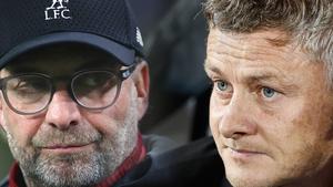 Liverpool's Jurgen Klopp (L) and Manchester United manager Ole Gunnar Solskjaer renew acquaintances on Thursday