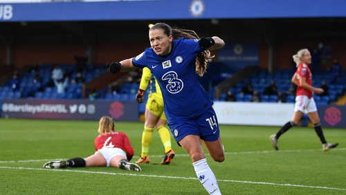 Fran Kirby celebrates scoring Chelsea's second goal