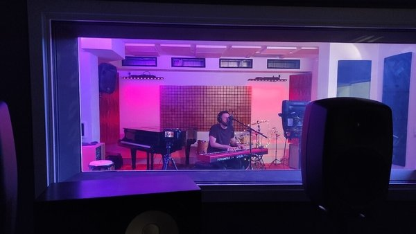 Singer/songwriter and UCC alumnus Jack O'Rourke in the Pauline Oliveros Sound Studio