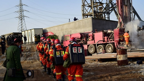 Rescuers working at the site of the blast in eastern Shandong province