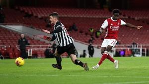 Bukayo Saka scores Arsenal's second goal of the night