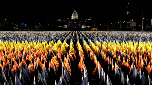 Nearly 200,000 US flags have been set up for the inauguration of President-elect Joe Biden