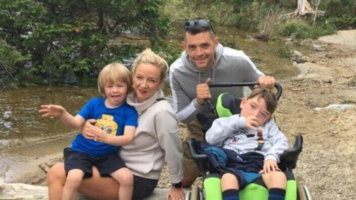 Kiara-Jane and Ian Murray with their children Maximus (seven) and Bastian (five)