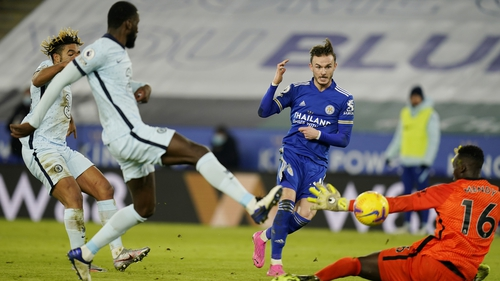 James Maddison scores Leicester's second goal on the night