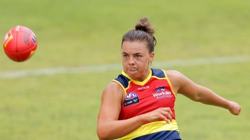Ebony Marinoff kicks the ball during the AFLW pre-season match between the Adelaide Crows and Brid Stack's GWS Giants