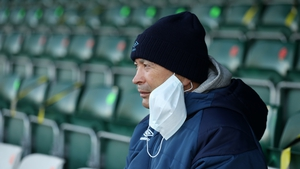 Eddie Jones looks on during the Trailfinders Challenge Cup match between Ealing Trailfinders and Saracens on Saturday
