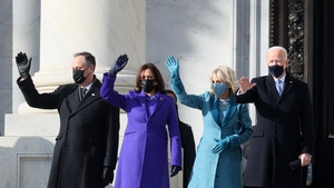 Doug Emhoff, Vice President-elect Kamala Harris, Jill Biden and President-elect Joe Biden arrive on the East Front of the US Capitol