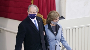 Former President George W Bush and Laura Bush arrive for the inauguration