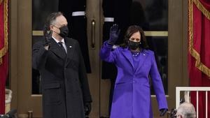 Vice President-elect Kamala Harris and husband Doug Emhoff arrive for the inauguration