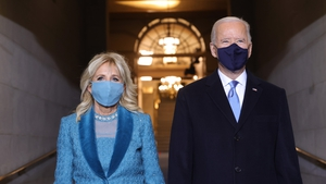 President-elect Joe Biden and his wife Jill Biden arrive for the ceremony