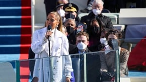 Jennifer Lopez sings during the inauguration on the West Front of the US Capitol
