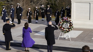 The new leaders of the US travelled to Arlington cemetery to lay a wreath