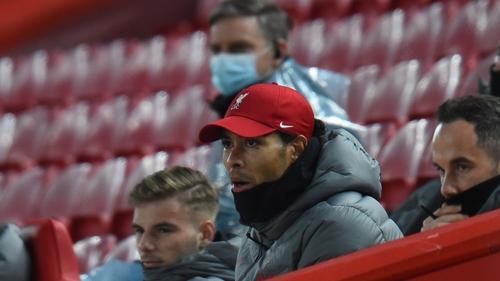 Virgil van Dijk in the stands at Anfield in December