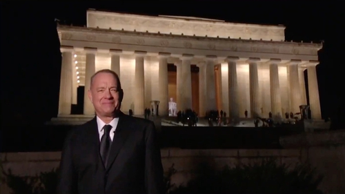 Tom Hanks presented the show from the Lincoln Memorial in Washington DC