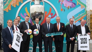 Aleksander Ceferin (fifth from the right) and Karl-Heinz Rummenigge (second from right) at Germany's launch for the tournament in 2016