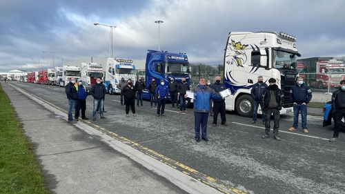 The IRHA staged a protest at Dublin Port to highlight the problems hauliers have been facing since 1 January