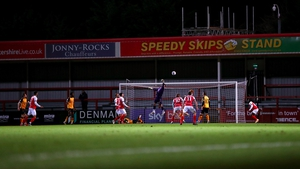 Tom King of Newport County makes a save during the match against Cheltenham Town